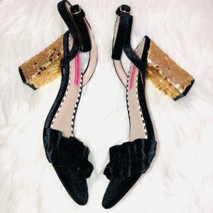 Betsey Johnson Blue Suede Sandals 7